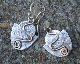 Mixed metal sterling silver and brass, textured boho artisan handmade earrings, artisan mixed metal earrings metalsmith jewelry