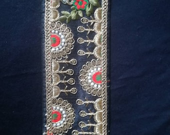 Gold patterns #galon black embroidered lace embroidered Indian