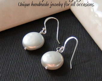 Perfect Pearl Earrings - Timeless classic of freshwater coin pearls & sterling silver components, June birthstone, Brides or Bridesmaids
