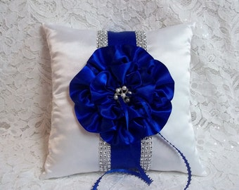 Ring Bearer Pillow / Royal Blue Ring Bearer Pillow / Royal Blue Flower and Trim / Rhinestone Mesh Trim / Wedding Pillow / Ring Pillow
