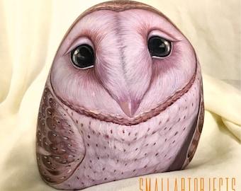 Painted Rock 'The Steady Owl' Original Artwork by Kannika Jansuwan