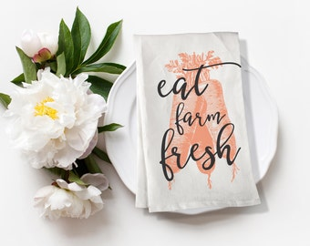 Carrots Tea Towel, Modern Farmhouse Flour Sack Kitchen Towel, Eat Farm Fresh, Housewarming Gift, Vegetable Country Dish Towel, Kitchen Linen