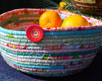 Pink and Turquoise Coiled Fabric Bowl