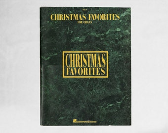 Christmas Organ Songs   Vintage Christmas Holiday Favorite Songs Book   90s Sheet Music   Green Booklet Gift   1990s Xmas Eve Singing Tunes