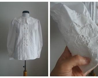 Vintage french chemise | 1910s french white cotton blouse | Edwardian blouse