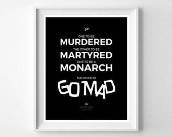 Murdered, Martyred, Monarch, Mad - Heartless - Marissa Meyer - Instant Download Digital Print