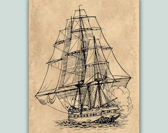 Nautical print, Frigate poster,  Old vessel sailboat, Frigate ship nautical art, sailing art, sailboat decor, sailing decor,Digital Download