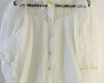 Size 6 - 8, 60s White French Lace Vintage Blouse w/ Tie Ruffle Collar, & See Through Shoulders and Sleeves, by Maggie's Farm