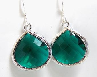Emerald Earrings, Glass Earrings, Green Earrings, Silver Emerald, Dark Green, Bridesmaid Earrings, Bridal Earrings Jewelry, Bridesmaid Gift