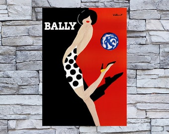 Bally Polka Dot Dress & Shoe Ad , Vintage Ballet Shoe Ad, Vintage Shoe Ad, Vintage Art Giclee Art Print, fine Art Reproduction
