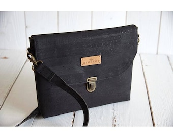 Shoulder bag vegan leather in black, soft and sweet, eco-friendly and ethical Cork flap