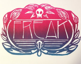 "Linocut FREAK Art- Fun lino cut block print- ""Freak"""