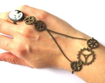 "Ring / bracelet ""steampunk skull"""