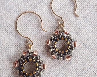 Rosie Earrings, Medallion Earrings, Beaded Earrings, Beaded Medallion Earrings, Gypsy Earrings, Beaded Gypsy Earrings, Gifts