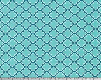 Joel Dewberry Fabric, True Colors Collection, Lodge Lattice in Aqua, cotton quilting fabric -  YARD