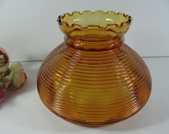Amber Lamp Globe with Scalloped Edge Top - Antique Lamp Globe