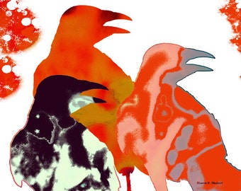 Modern Crows, Folk Art, Digital Painting, Southwestern Fine Art, Red Bird, Totem Animal, Bold Color, Wall Hanging, Home Decor, Giclee Print