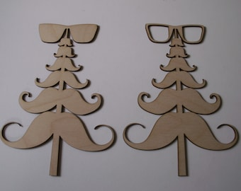 Mustache with Glasses Tree Wood Shapes, 6 PIECES, Laser Cut Wood Shapes, Ornaments, Tags, Magnets, Favors, Sorority Crafts, Scrapbooking