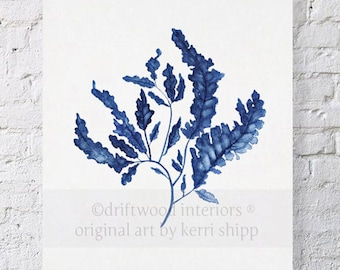 Blue Seaweed Wall Art 11x14 - Wall Art Home Decor - Blue Coral Watercolor - Blue Coral Print - Seaweed Wall Art Print - Seaweed in Denim