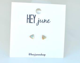 tiny triangle studs, gold triangle earrings,  gold triangle stud earrings, tiny triangle earrings, simple triangle earrings,