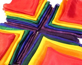 Set of 6 Rainbow Playsilks -Choose from Bright & Bold or Soft Pastel ~ Hand Dyed ~ Waldorf Inspired!