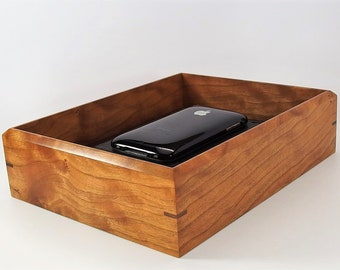 """Figured Cherry Valet Box. Wooden Tray Upholstered in Leather. 8.5"""" x 6.75"""" x 2"""""""