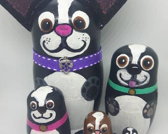 boston terrier nesting dogs - purple collar