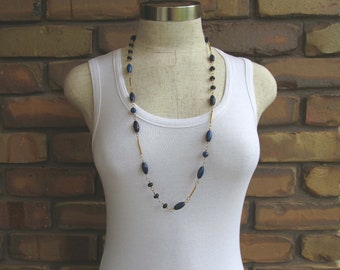 Lapis Lazuli Gemstone Gold Wire Wrapped 88cm (34.5 inch) Beaded Necklace