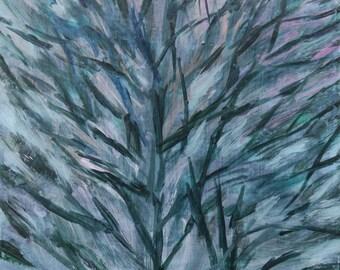 Sturdy Tree, Multicolor Sky - original art, small painting by Irene Stapleford - wantknot shop