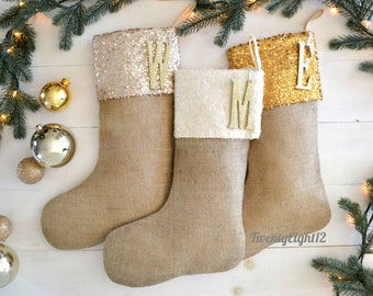 Sequin Stockings - Burlap Stockings, Set of 3, Christmas Stocking, Christmas Stockings, Stockings, Family Stockings, Personalized Stocking