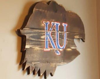KU Jayhawks reclaimed wood sign, Kansas University, Rock Chalk, man cave decor, gift for man, sports decor, pallet wood sign,