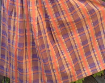Orange and purple  linen skirt, plaid skirt, vintage skirt, pleated skirt, full skirt, size 10 skirt, fall skirt, boho skirt