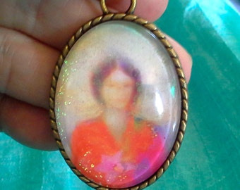 Quan Yin Healing Angelic Energy Pendant by Glenyss Bourne- Antique Copper 30x40mm