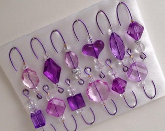 Purple Beaded Christmas Ornament Hanger Hook Assortment - FREE SHIPPING