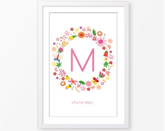 Personalized baby girl wall art, girls wall art,kids room decor,baby girl poster,nursery poster,nursery wall art,nursery decor,digital file