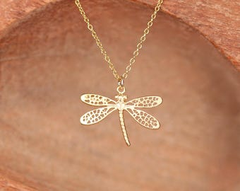 Gold dragonfly necklace - bug necklace - dragonfly pendant necklace