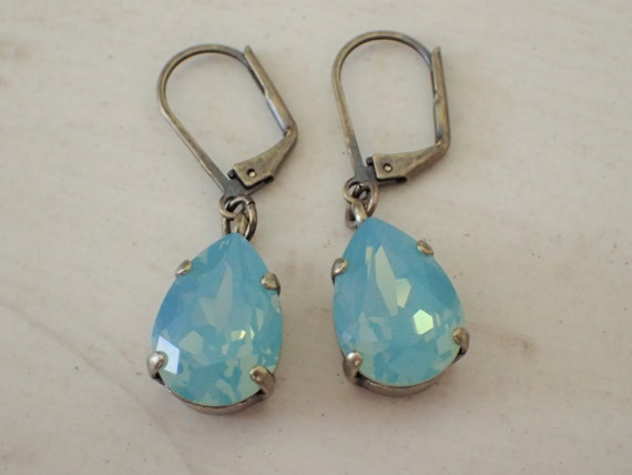 Pacific Opal Swarovski Crystal Earrings, Antique Brass