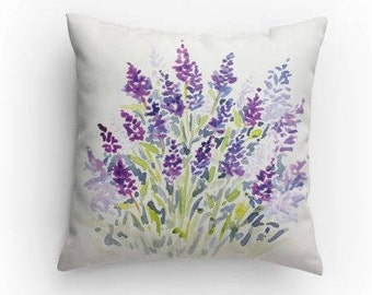 Lavender Throw Pillow, Decorative Pillow, Lavender Watercolor Design with Pillow Insert