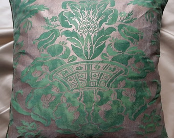 Fortuny Fabric Throw Pillow Cushion Cover  Green & Silvery Gold Olimpia Pattern - Made in Italy