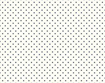 Riley Blake Designs, Swiss Dots in Cream Navy  (C600 21)