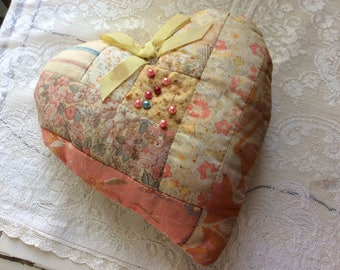 Vintage Shabby Chic Pin Cushion, Heart Patchwork, with Pins