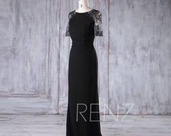 Black Chiffon Bridesmaid Dress,Lace Short Sleeves Wedding Dress,Mother of Bride Dress,Illusion Back Evening Dress,Women Formal Dress(H375)