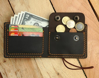 Personalized Wallet Bifold Wallet Mens Gift Minimalist Wallet Leather wallet Coin pocket wallet Coin holder