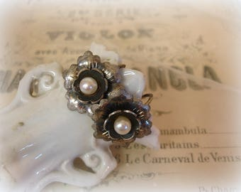 vintage sterling flower earrings double layer sterling silver petals pearl center screw backs marked STERLING