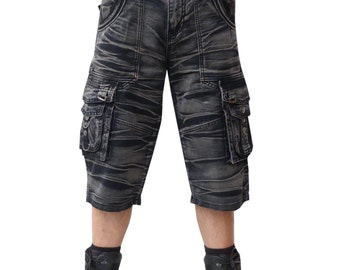 snowwashed batik shorts gray black