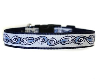 1 Inch Wide Dog Collar with Adjustable Buckle or Martingale in Hang Ten