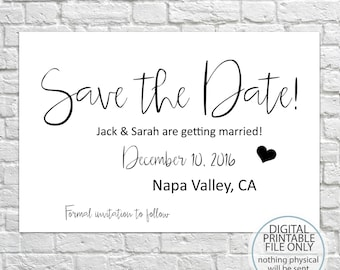 Save The Date, Printable Save The Date, Save The Date, Save The Dates, Wedding Invitations, Save The Date Invitations - Choose Your Colors