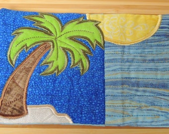 Tropical Mug Rug - Applique Embroidered - Coffee Mat - Candle Mat Drink Coaster Gift - Decor -  Snack Table Desk Mat - Palm Seascape Getaway
