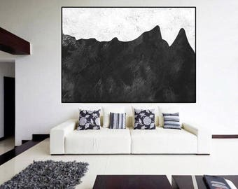 large abstract painting Black and White , original Painting on canvas, large Abstract Painting, large wall Art, modern wall decor