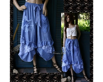 Tunde-Bloomers - Romantic Lagenlook Encian-Blue Handdyed Wide Leg Pants with Ruffles and Laces OOAK